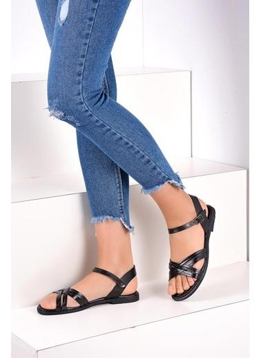 Pembe Potin A118-19 Kadın Sandalet Siyah
